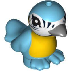 Medium Azure Bird, Friends / Elves with Bright Light Orange Chest, Black Eyes and Dark Bluish Gray Beak Pattern