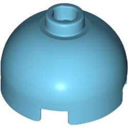 Medium Azure Brick, Round 2 x 2 Dome Top - Hollow Stud with Bottom Axle Holder x Shape + Orientation - used