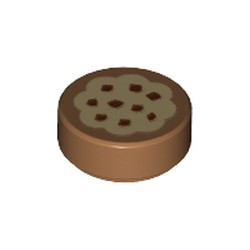 Medium Nougat Tile, Round 1 x 1 with Cookie Tan Frosting and Chocolate Sprinkles Pattern - new