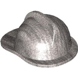 Metallic Silver Minifigure, Headgear Fire Helmet - used