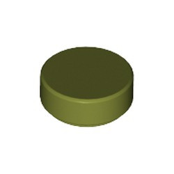 Olive Green Tile, Round 1 x 1 - new