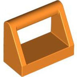 Orange Tile, Modified 1 x 2 with Bar Handle - new
