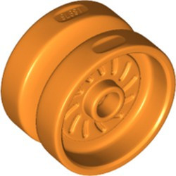 Orange Wheel 18mm D. x 12mm with Axle Hole and Stud, Solid Brake Rotor Lines - new