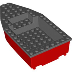 Red Boat, Hull Unitary 16 x 8 Base with Dark Bluish Gray Boat Hull Unitary 16 x 8 Top (28533 / 28535) - new