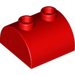 Red Slope, Curved 2 x 2 x 1 Double with Two Studs - new