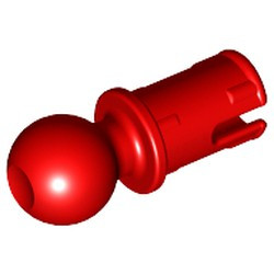 Red Technic, Pin with Friction Ridges Lengthwise and Tow Ball with Round Pin Hole
