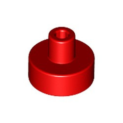 Red Tile, Round 1 x 1 with Bar and Pin Holder - new