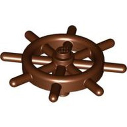 Reddish Brown Boat, Ship's Wheel with Slotted Pin - new