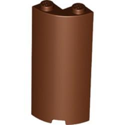 Reddish Brown Cylinder Quarter 2 x 2 x 5 with 1 x 1 Cutout