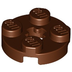 Reddish Brown Plate, Round 2 x 2 with Axle Hole - used