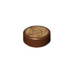Reddish Brown Tile, Round 1 x 1 with Tree Stump / Wood Grain Pattern