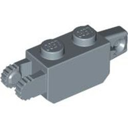 Sand Blue Hinge Brick 1 x 2 Locking with 1 Finger Vertical End and 2 Fingers Vertical End, 9 Teeth