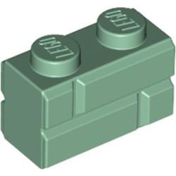 Sand Green Brick, Modified 1 x 2 with Masonry Profile (Brick Profile) - new