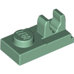 Sand Green Plate, Modified 1 x 2 with Clip on Top