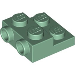 Sand Green Plate, Modified 2 x 2 x 2/3 with 2 Studs on Side