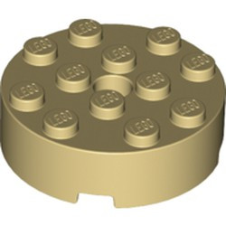 Tan Brick, Round 4 x 4 with Hole