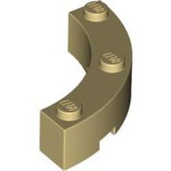 Tan Brick, Round Corner 4 x 4 Macaroni Wide with 3 Studs