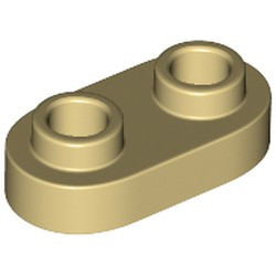 Tan Plate, Modified 1 x 2 Rounded with 2 Open Studs - new
