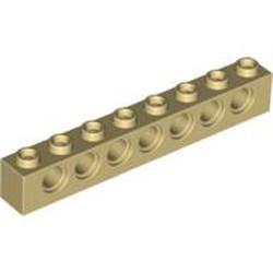 Tan Technic, Brick 1 x 8 with Holes - used