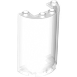 Trans-Clear Cylinder Half 2 x 4 x 5 with 1 x 2 Cutout
