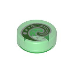 Trans-Green Tile, Round 1 x 1 with Bright Green and White Koru Spiral Symbol Pattern