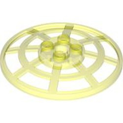 Trans-Neon Green Dish 6 x 6 Inverted (Radar) Webbed - Type 2 (underside attachment positions at 90 degrees) - used