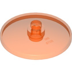 Trans-Neon Orange Dish 4 x 4 Inverted (Radar) - new with Open Stud