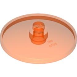 Trans-Neon Orange Dish 4 x 4 Inverted (Radar) with Open Stud - new