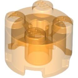 Trans-Orange Brick, Round 2 x 2 with Axle Hole - used
