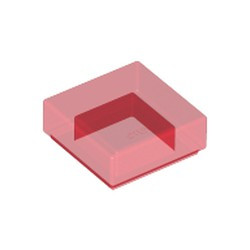 Trans-Red Tile 1 x 1 with Groove