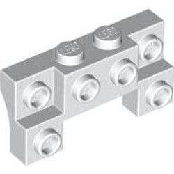 White Brick, Modified 2 x 4 - 1 x 4 with 2 Recessed Studs and Thick Side Arches - used
