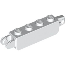 White Hinge Brick 1 x 4 Locking with 1 Finger Vertical End and 2 Fingers Vertical End, 9 Teeth
