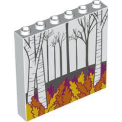 White Panel 1 x 6 x 5 with Dark Bluish Gray Trees, Aspen Trees, Magenta, Orange and Yellow Leaves Pattern