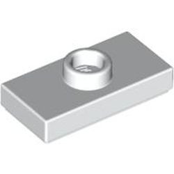 White Plate, Modified 1 x 2 with 1 Stud with Groove (Jumper)