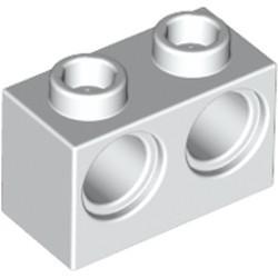 White Technic, Brick 1 x 2 with Holes - new