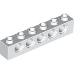 White Technic, Brick 1 x 6 with Holes - used