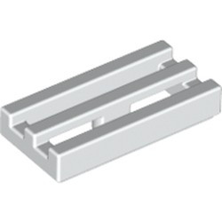 White Tile, Modified 1 x 2 Grille with Bottom Groove / Lip - used