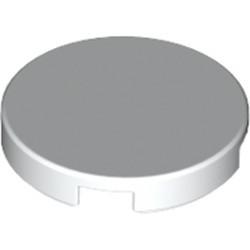 White Tile, Round 2 x 2 with Bottom Stud Holder - new
