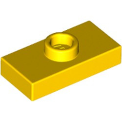Yellow Plate, Modified 1 x 2 with 1 Stud without Groove (Jumper) - used