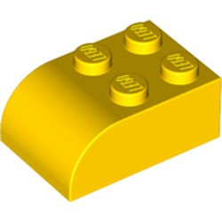 Yellow Slope, Curved 3 x 2 x 1 with Four Studs - used
