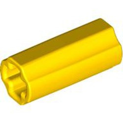 Yellow Technic, Axle Connector 2L (Smooth with x Hole + Orientation) - new