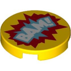 Yellow Tile, Round 2 x 2 with Bottom Stud Holder with 'BAM!' in Blue and Red Starburst Explosion Pattern