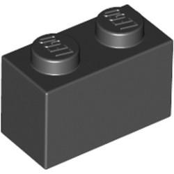 Black Brick 1 x 2