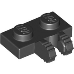 Black Hinge Plate 1 x 2 Locking with 2 Fingers on Side and 7 Teeth