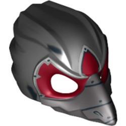 Black Minifigure, Headgear Mask Bird (Raven) with Silver Beak and Dark Red Markings Pattern - used