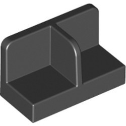 Black Panel 1 x 2 x 1 with Rounded Corners and Center Divider - used