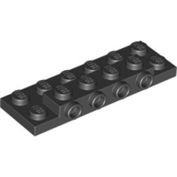 Black Plate, Modified 2 x 6 x 2/3 with 4 Studs on Side - new
