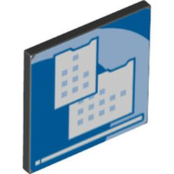 Black Road Sign 2 x 2 Square with Open O Clip with Light Blue Curved Center Stripe and Small Squares Pattern (Computer Screen) - new