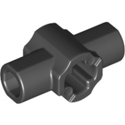 Black Technic, Axle Connector Hub with Two Bar Holders Perpendicular (Lightsaber Hilt) - new