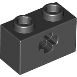 Black Technic, Brick 1 x 2 with Axle Hole (x Shape) - used